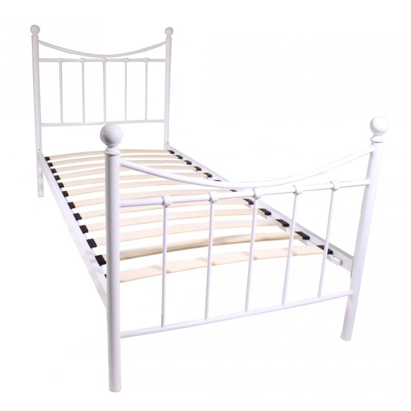 łóżko Metalowe Mbd040 90 Białe Ze Stelażem